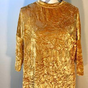 Gold Crushed Velvet Zara Long Sleeve Dress